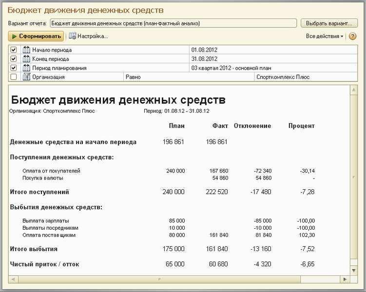 Как сделать отчет о движении денежных средств в 1с